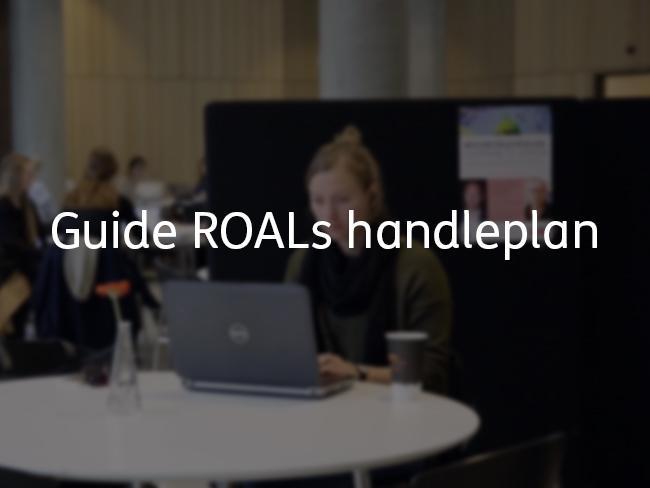 Billede af kvinde ved computer og teksten: Guide ROALs handleplan