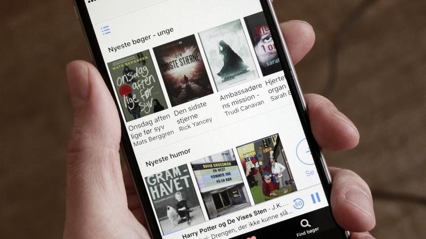 billede af skærm der viser Notas app med de mange lånemuligheder og forskellige bogtitler.