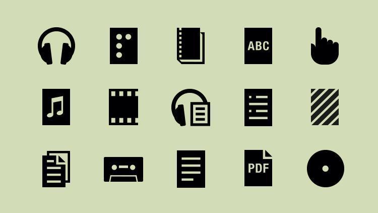 billede af forskellige ikoner som høretelefoner, punktskrift, cd med videre