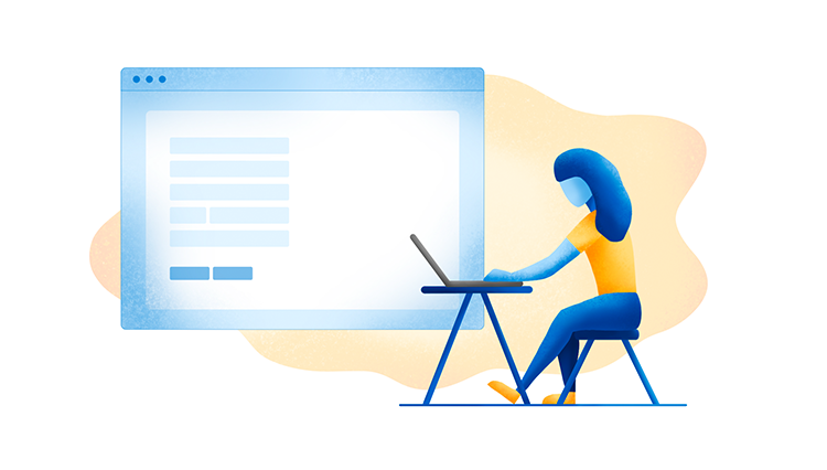 Illustration af kvindeskikkelse foran bord med computer. I baggrunden ses en skærm