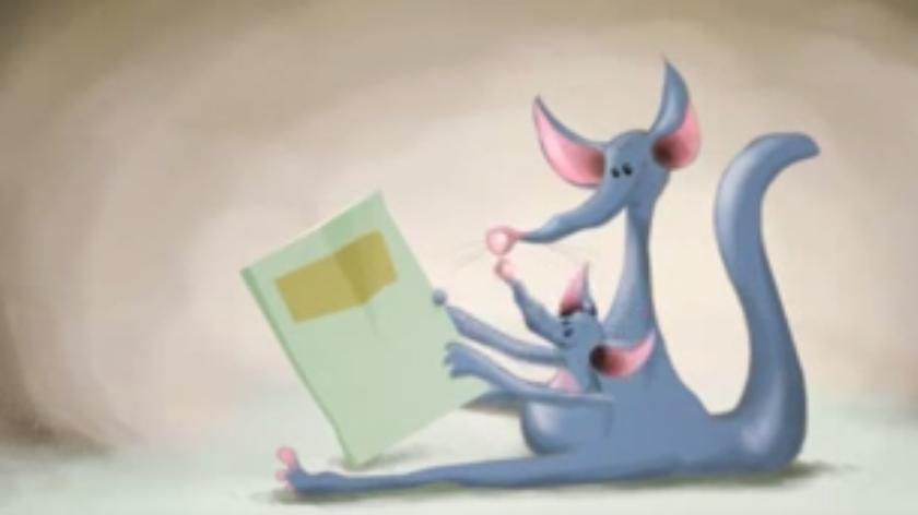 Kænguru-mor og kænguru-barn med bog