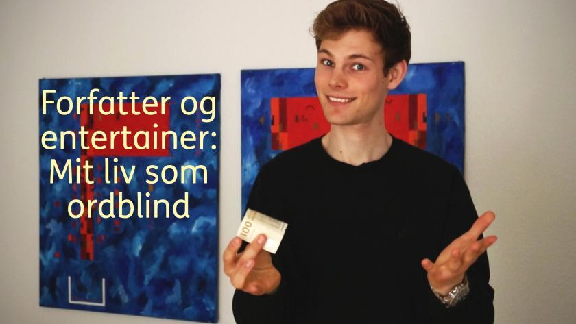 """Mikkel Rugholm. Tekst på billede: """"Forfatter og entertainer: Mit liv som ordblind""""."""