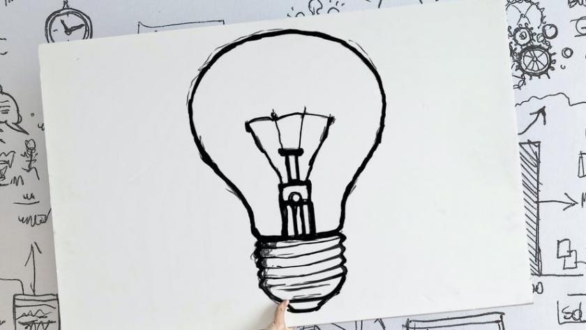 Illustration af tegnet elpære for at indikere en god og fordelagtig idé.