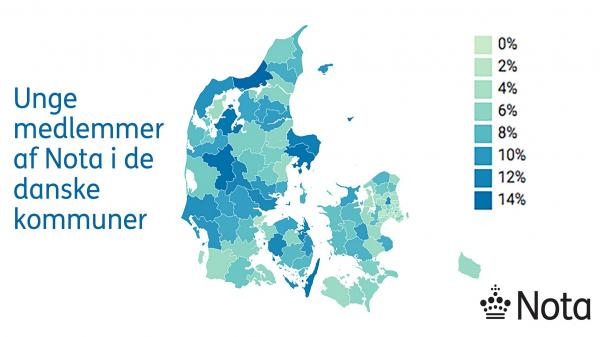 Danmarkskort, der viser den procentvise andel af unge, der er indmeldte i Nota, i de forskellige kommuner.
