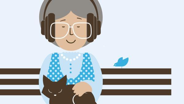 Grafik af ældre kvinde, som lytter til e-bog.